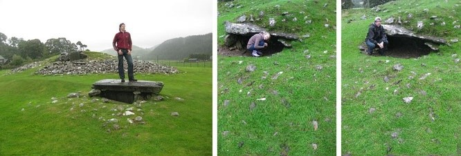 Dunchraigaig Cairn, Kilmartin Glen (frühe Bronzezeit, ca. 2.000 v. Chr.). Rechts die nahegelegene Südostkiste, Beisetzungsstätte von 10 Menschen. Die Felsritzungen von Baluachcraig liegen von letztgenanntem Punkt in Gehweite...