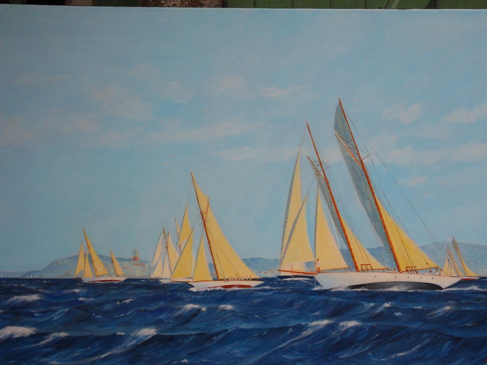 """""""LELANTINA"""" et """"AVEL"""" Voiles de St Tropez. hst 80 x 120"""