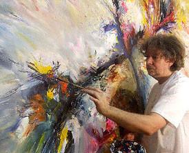 the artist Peter Nottrott at work