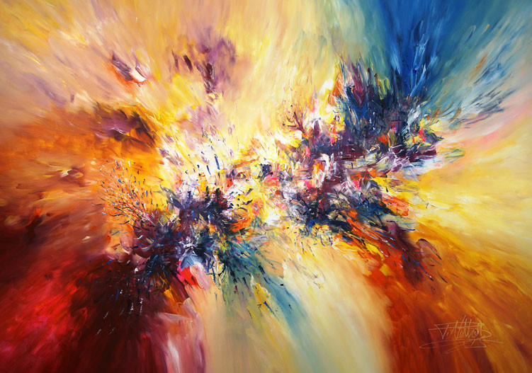 Modern, colorful art. Original, acrylic on cavas, red yellow, vital