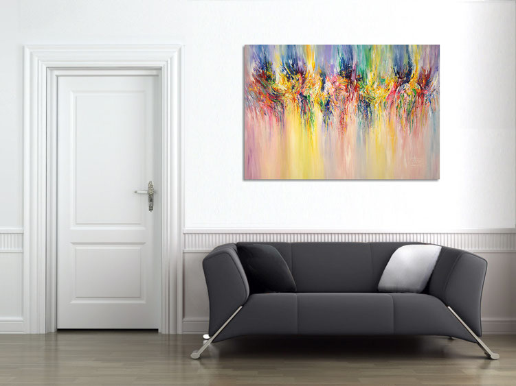 "The abstract painting "" Summer Feelings...XL 1 "" in the finished clamped to the wall ."