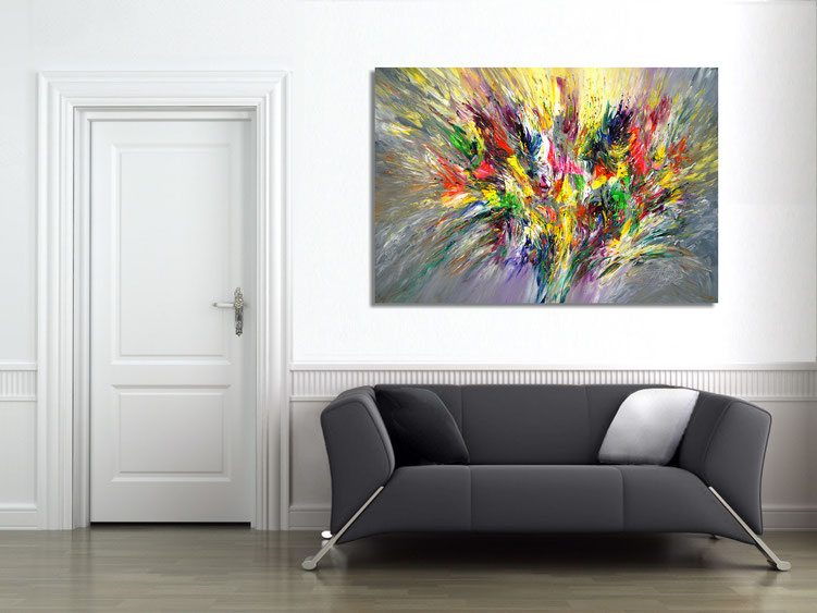 "The abstract painting "" Spectacular XL 1"" in the finished clamped to the wall ."