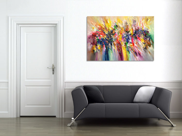 "The abstract painting ""Colour Symphony...XL 2"" in the finished clamped to the wall ."