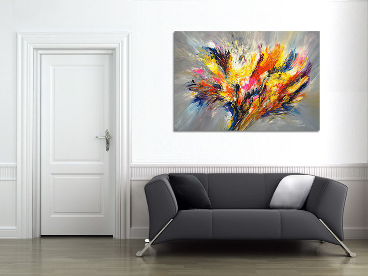 "The abstract painting "" Spectacular XL 2 "" in the finished clamped to the wall ."