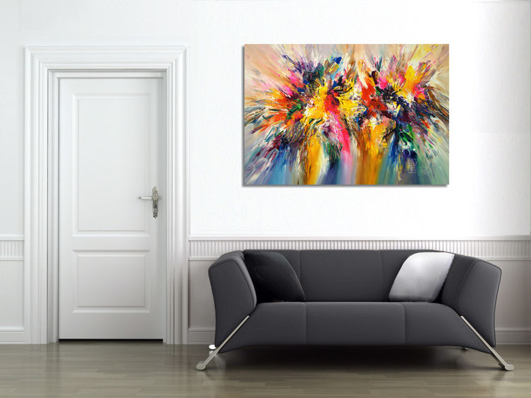 "The abstract painting "" Colour Symphony...XL 3 "" in the finished clamped to the wall ."