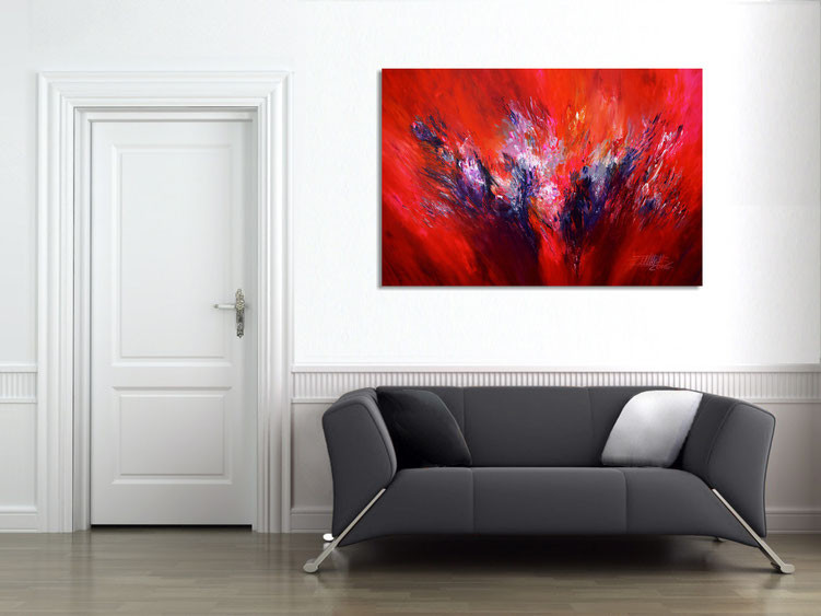 The abstract Nottrott- painting gives space a very individual ambience
