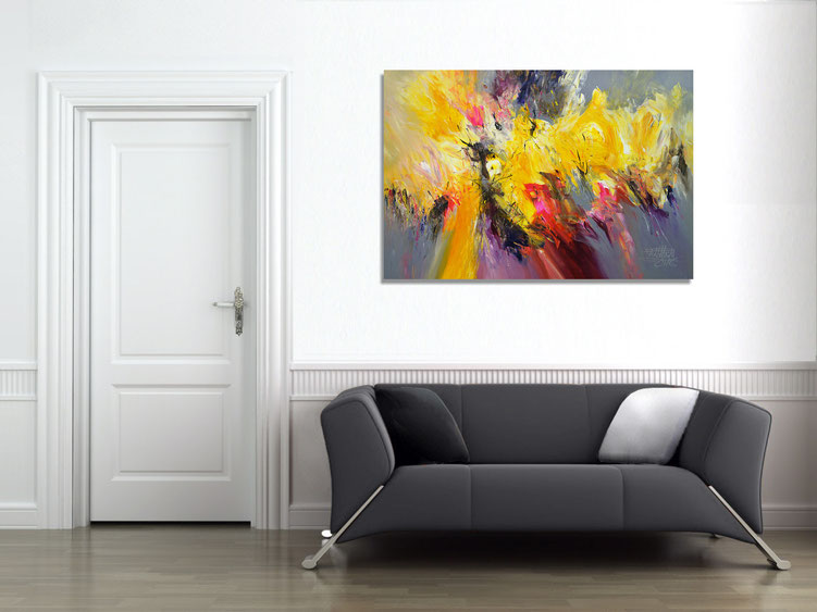 "The abstract painting ""Composition Yellow XL 1"" in the finished clamped to the wall."