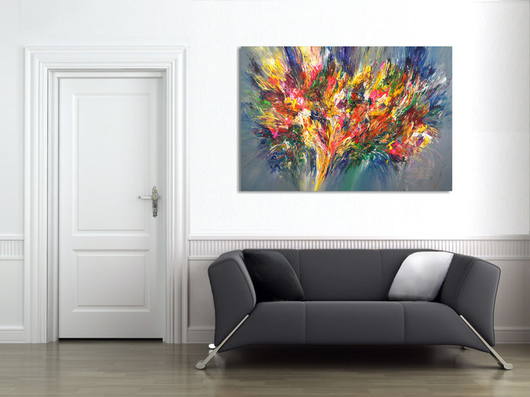 "by the abstract painting ""Extravagance...XL 1"" obtained the athmosphere of the room a particularly individual character"