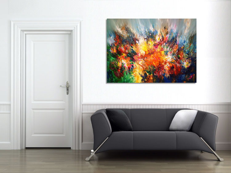 "The abstract painting ""World Of Colors XL 2"" in the finished clamped to the wall."