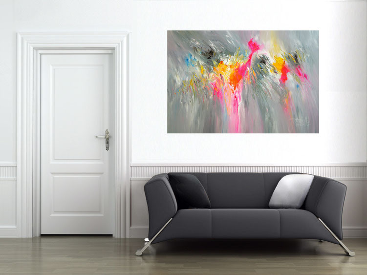 "by the abstract painting ""Relaxed Daydream XL1"" obtained the athmosphere of the room a particularly individual character"