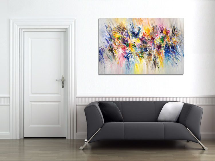 """The abstract painting """"Sudden Inspirations XL 1"""" in the finished clamped to the wall."""