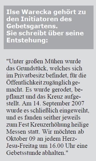 Ilse Warecka gehört zu den Initiatoren des Gebetsgartens (Screen-Shot aus der Monatszeitschrift der Jüngergemeinschaft) (11/2009)