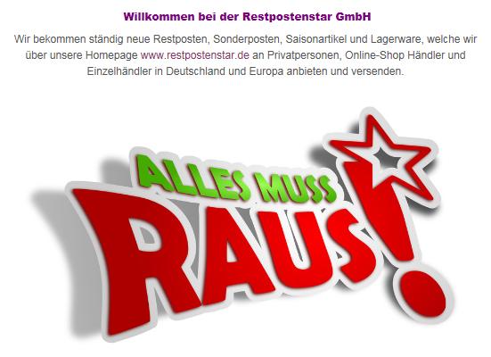 Printscreen von der Website 'Restpostenstar'