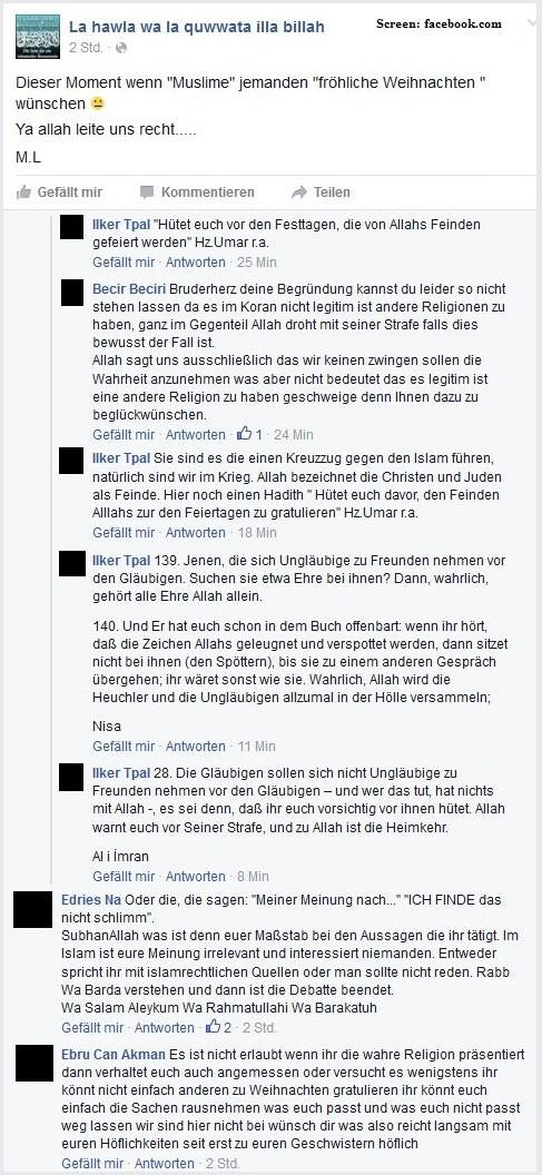 Postings (Sreenshot) auf der Facebook-Seite der islamistischen Gemeinschaft 'La Hawla' in Wien (Quelle 'Erstaunlich')