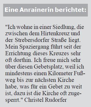 Bericht von Christel Rudorfer zum Gebetsgarten Stammersdorf (Screen-Shot aus der Monatszeitschrift der Jüngergemeinschaft) (11/2009)