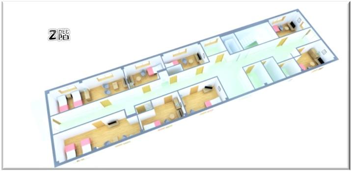入居部屋などの2階見取り図