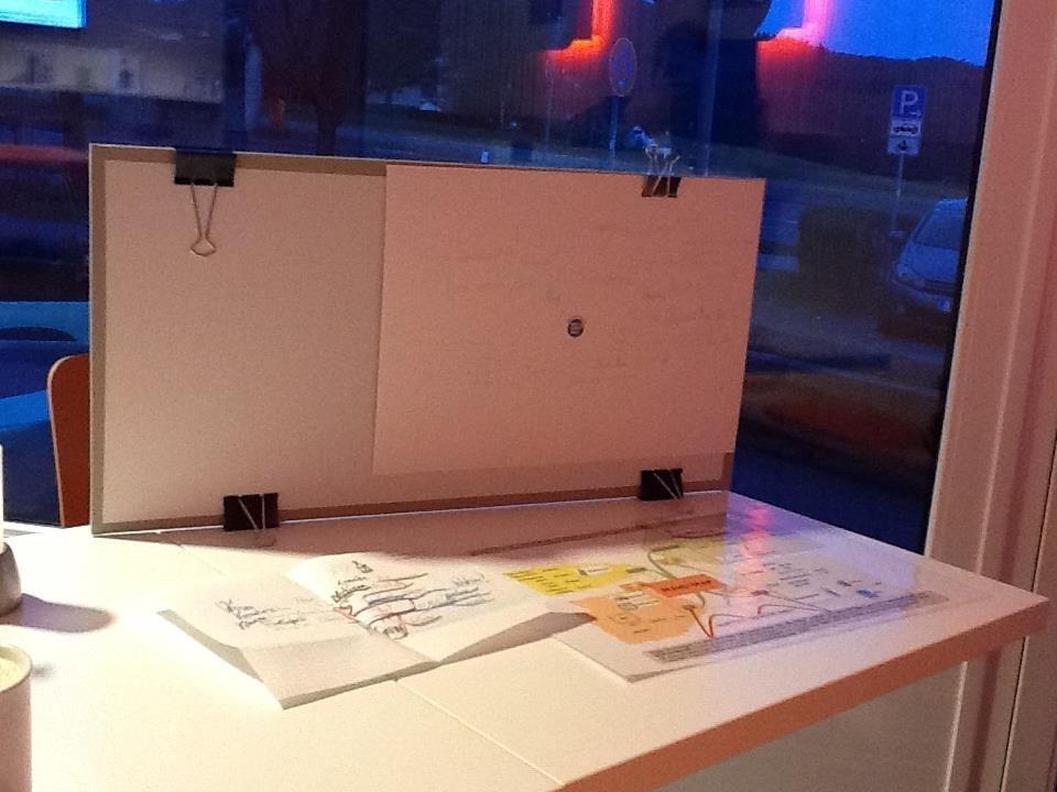 Mobiles Mind-mapping; Softboard als Sichtschutz
