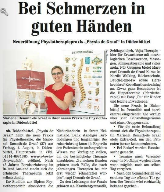 Artikel aus dem Neuen Stader Wochenblatt vom 30.07.14