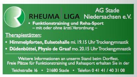 """Anzeige aus dem """"Neue Stader Wochenblatt""""                                                                                              Physio de Graaf bietet Trockengymnastik für Rheuma Liga Niedersachsen e.V. an"""