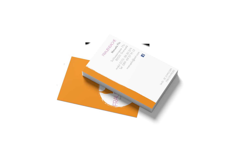 """Visitenkarten, Teil des Corporate Designs für """"Frauensache"""", Modeboutique Grünwald"""