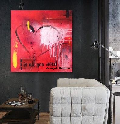 """""""love is all you need""""  Größe 80 x 80 x 4 cm   SOLD"""