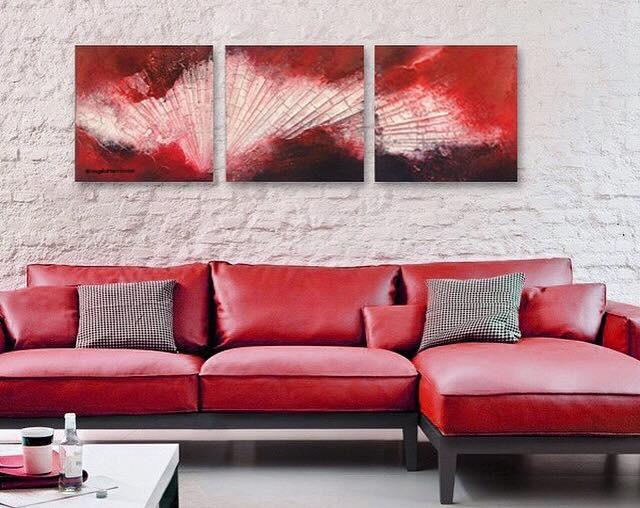 """""""red meets black""""  Größe 3 mal 30 x 30 x 3,8 cm"""