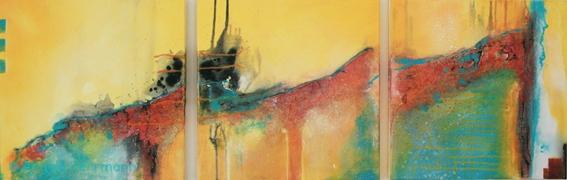 """""""flow""""   (ein sogenanntes Triptychon = Drei Bilder Gemälde),  Größe 3 mal 50 x 50 cm"""