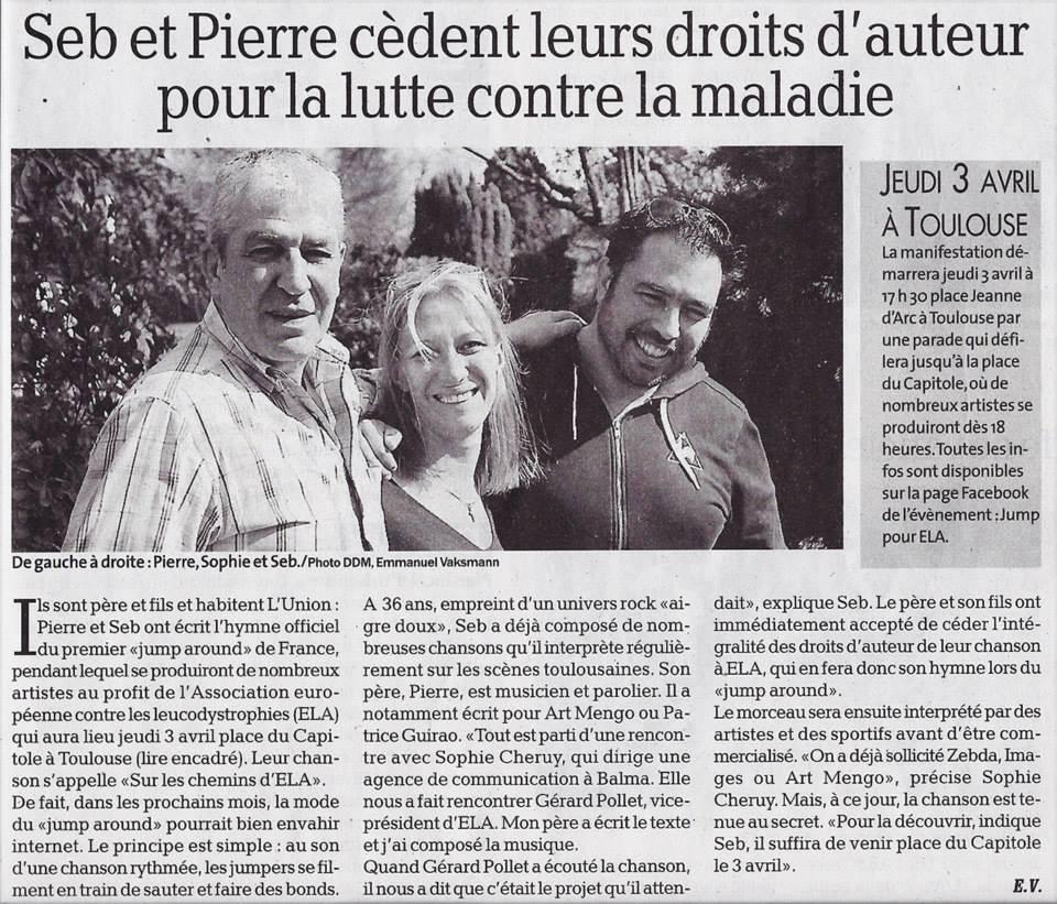 La Dépêche du Midi pour ELA avril 2014