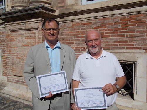Roger Vétillard et Maurice Calmein, lauréats tous deux des prix des Gourmets du livre, hôtel d'Assezat, Toulouse 2014 - Ph. Maïa Alonso
