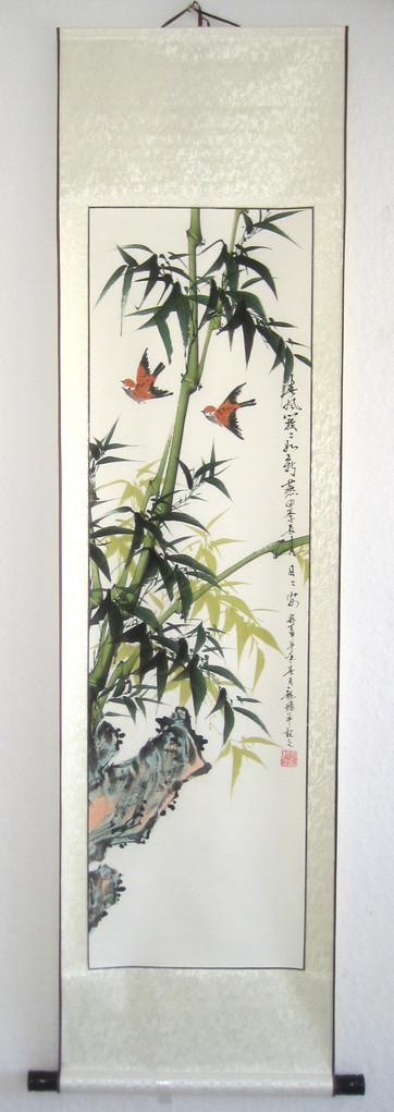 Rollbild wanddeko tuschmalerei bambus handgemalt for Asiatische wanddeko