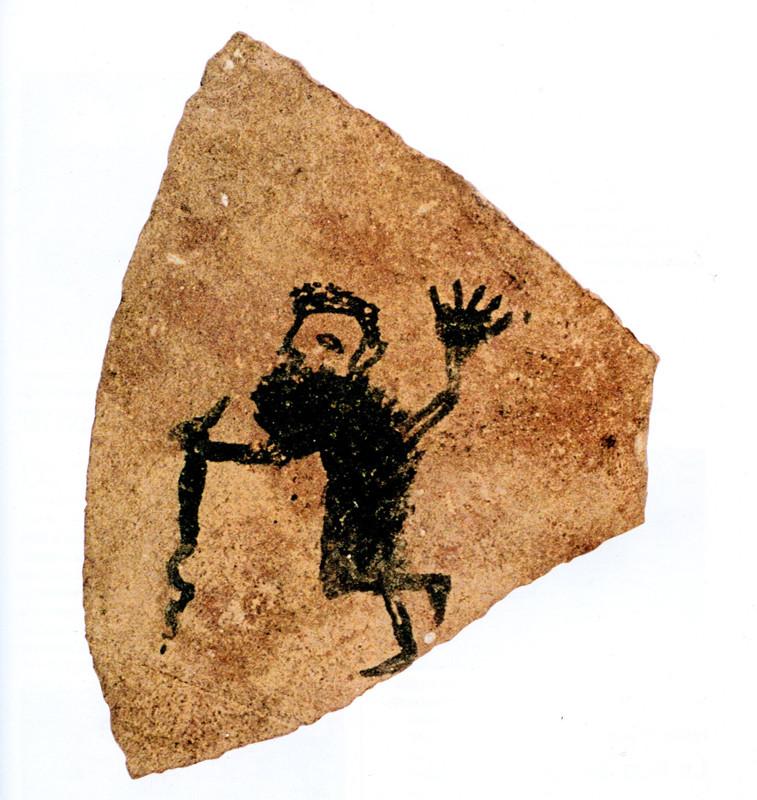 Représentation de Moïse et d'un serpent (très probablement un cobra égyptien) sur un tesson datant de 100 ap. J.-C. Voir contribution de Hélène Cuvigny... Photo © A. Bülow-Jakobsen