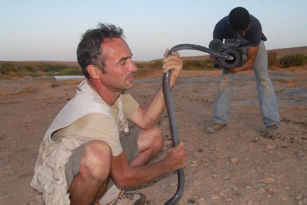 Lors du tournage d'un documentaire d'Amouddou... Maroc ©Michel Aymerich