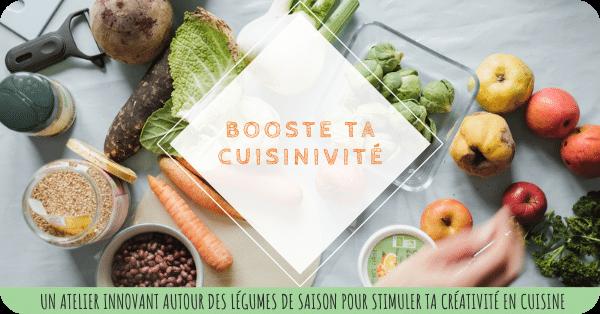 Image avec différents légumes et ingrédients sur une table et titre de l'atelier : booste ta cuisinivité- un programme d'ateliers innovants autour des légumes de saison pour stimuler ta créativité en cuisine