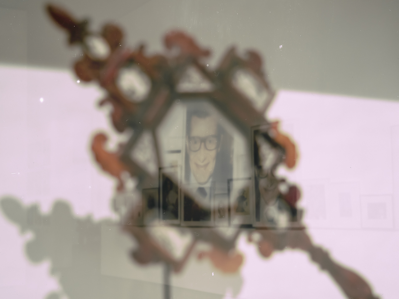 Apparition of Yves. Photography by Juergen Teller (Yves Saint Laurent, 2000) observed through a courtly amber mirror (1650)