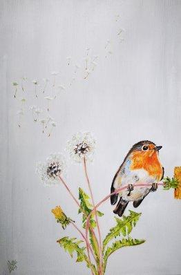 3.Robin...dandelion 40x60cm verkocht
