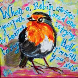 43. Robin colorful...love you  20x20 cm VERKOCHT
