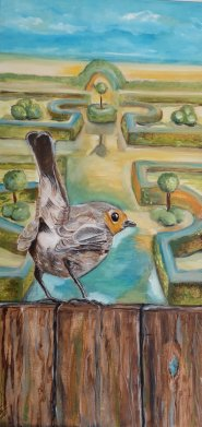 36.Robin ... and the boxwood garden  30x60 cm