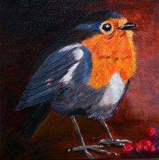 44. Robin Rembrandt style 20x20 cm  VERKOCHT