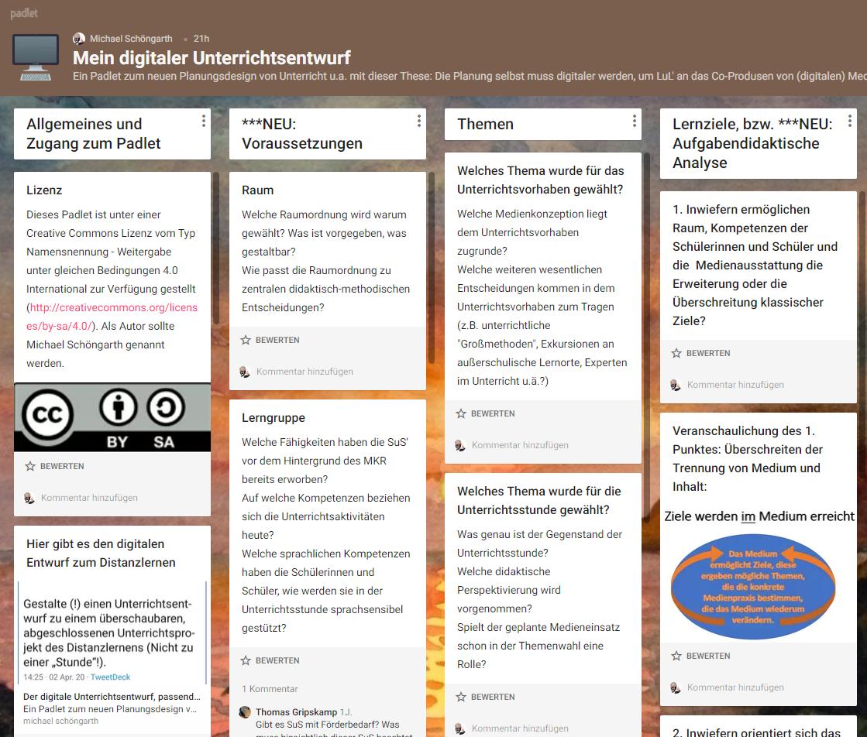 Digitale Unterrichtsentwürfe als Padlet - Teil 1