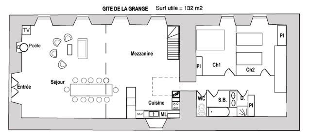 Plan de masse Gîte La Grange 3 étoiles