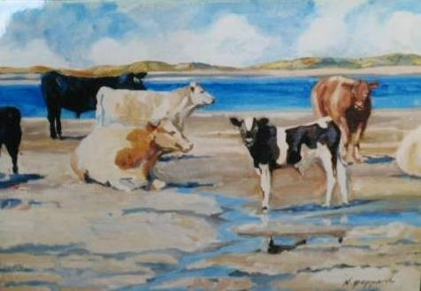 COWS OF DONEGAL, oil on canvas,