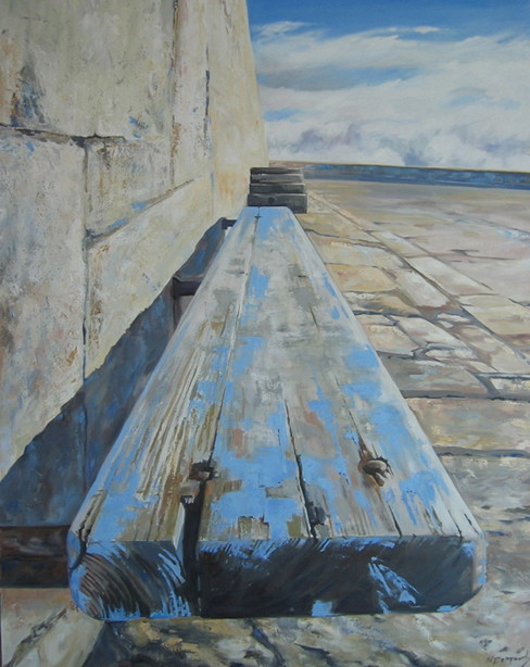 PIER BENCH, oil on canvas