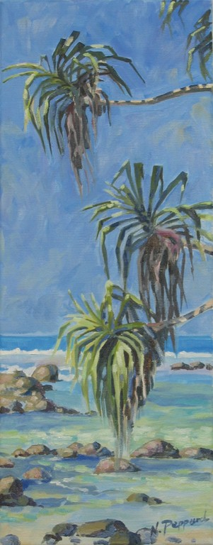 TROPICAL SHORE, oil on canvas