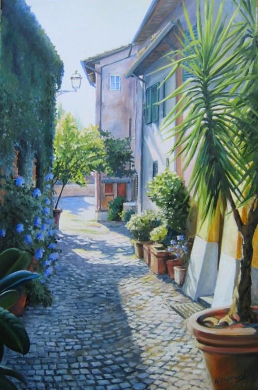 VICOLO OSTIENSE, oil on canvas
