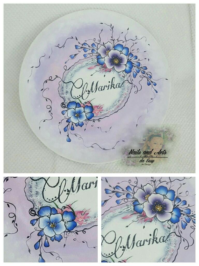 Piatto in ceramica con foto, dipinto a mano