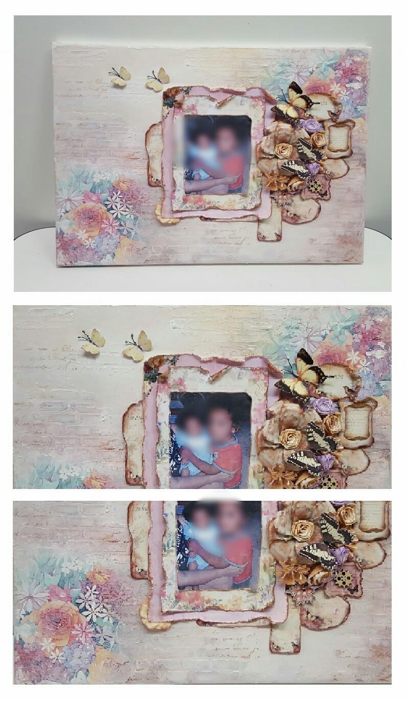 Tela con foto + decoupage e fiori fatti a mano