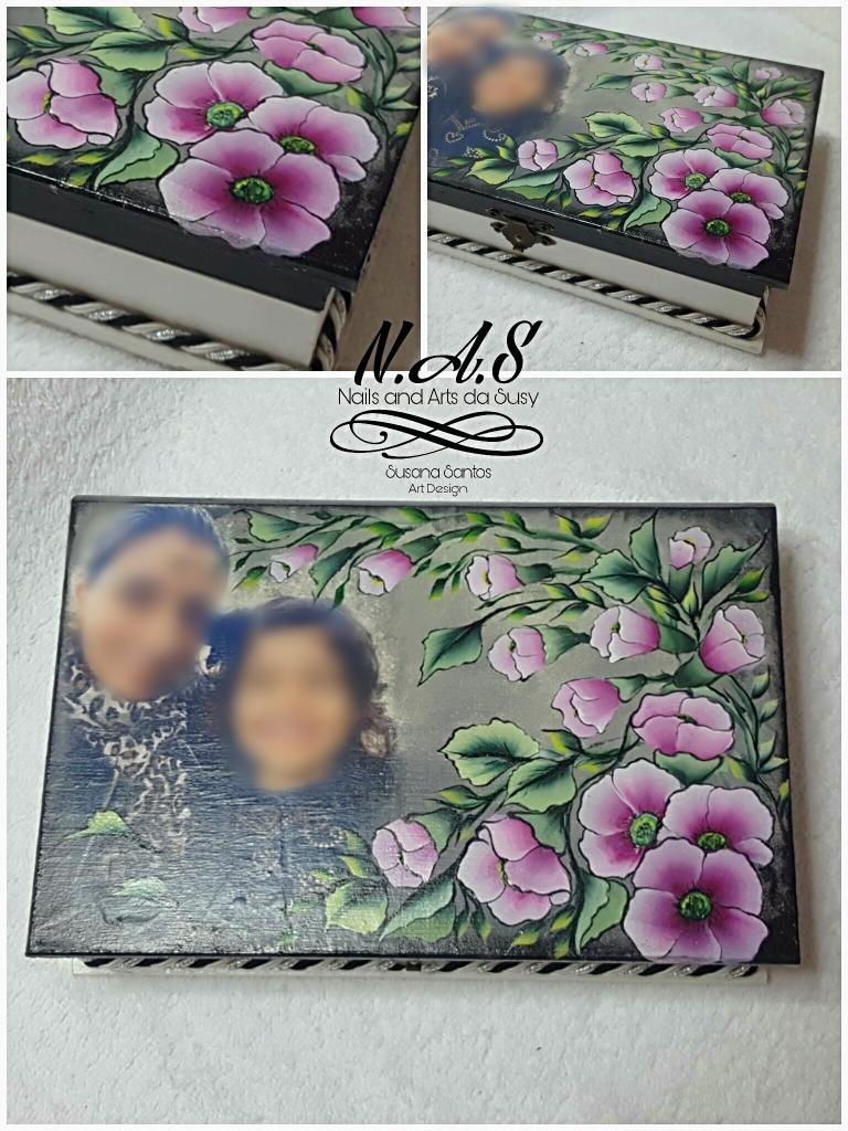Scatola in legno cn foto dipinta a mano