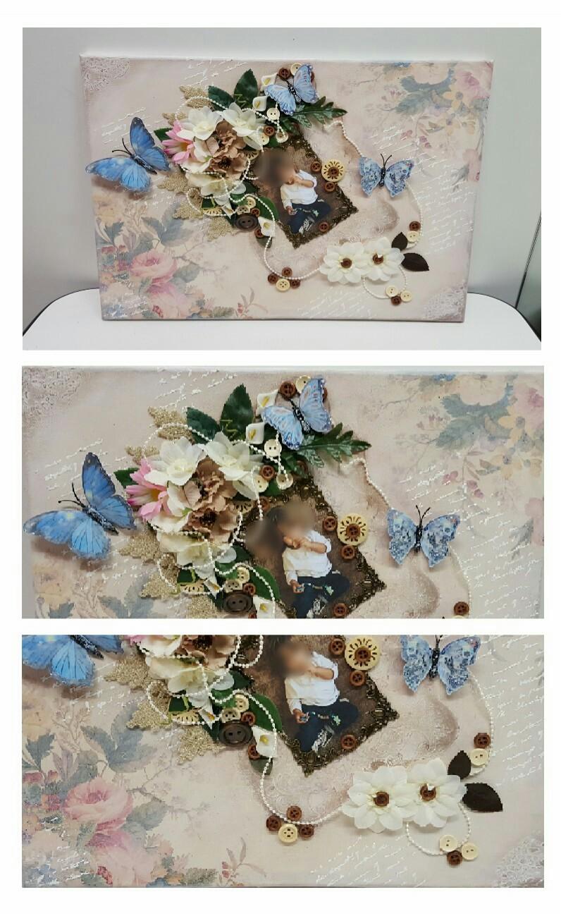 Tela con foto + decoupage e aggiunta di oggetti decorativi