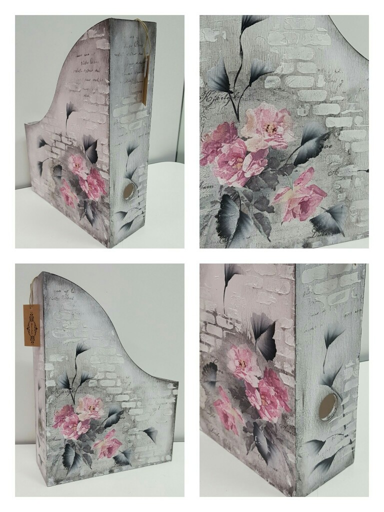 Porta documenti in legno + misto decoupage e pittura a mano