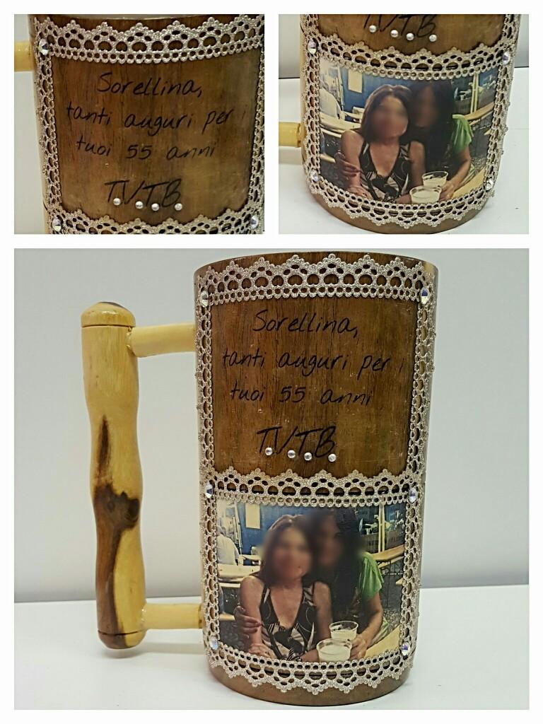 Brocca in legno con foto e dediche